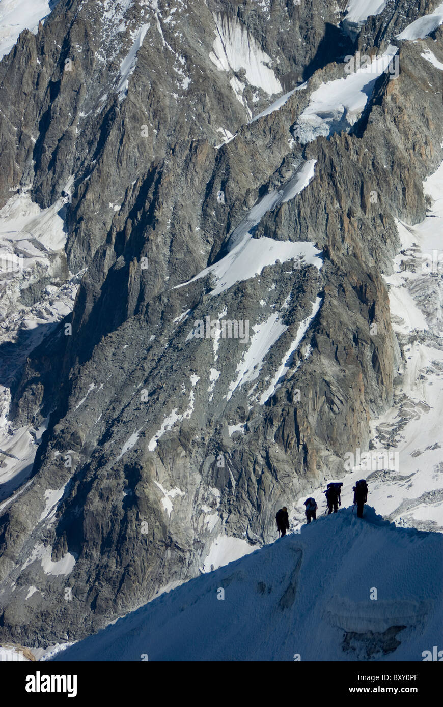 A group return after climbing Mont Blanc, Alps, France. Stock Photo