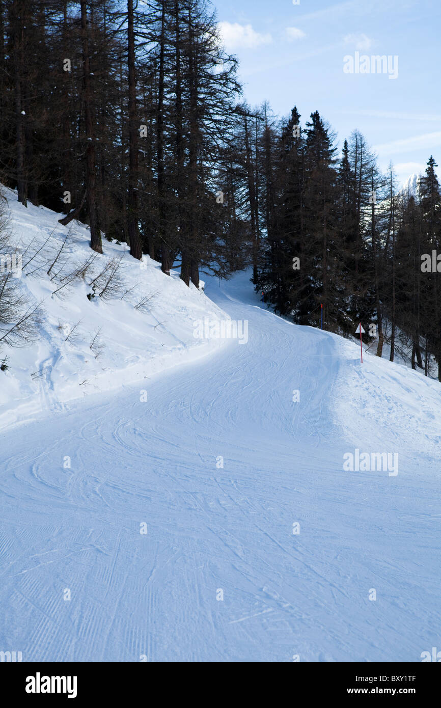 Alpine slope. Monte Bianco, Val Veny, Courmayeur, Valle d'Aosta, Italy - Stock Image