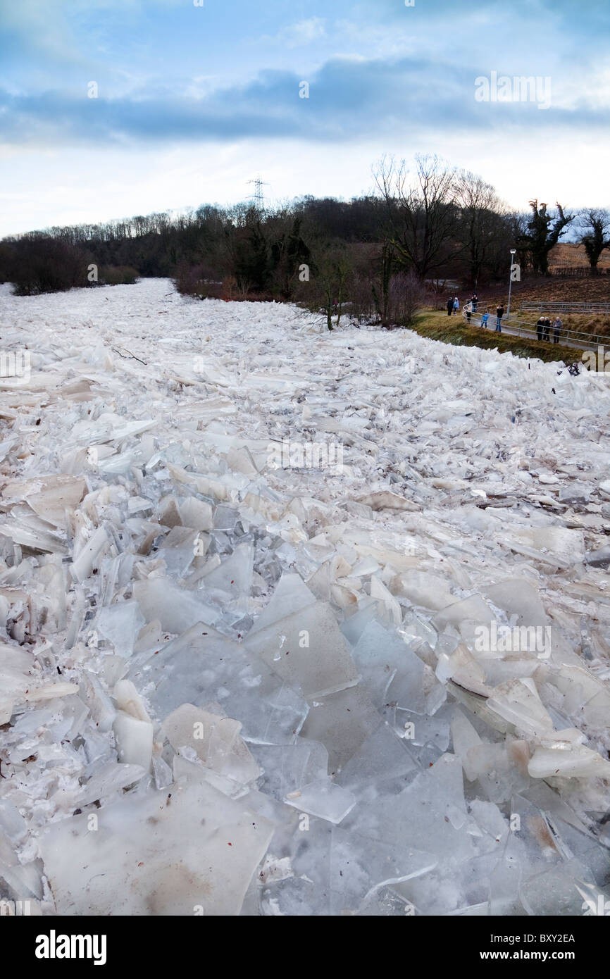 River Ayr frozen over and the ice breaking up into slabs and piling up against one another. River Ayr, Ayr, Ayrshire, Stock Photo