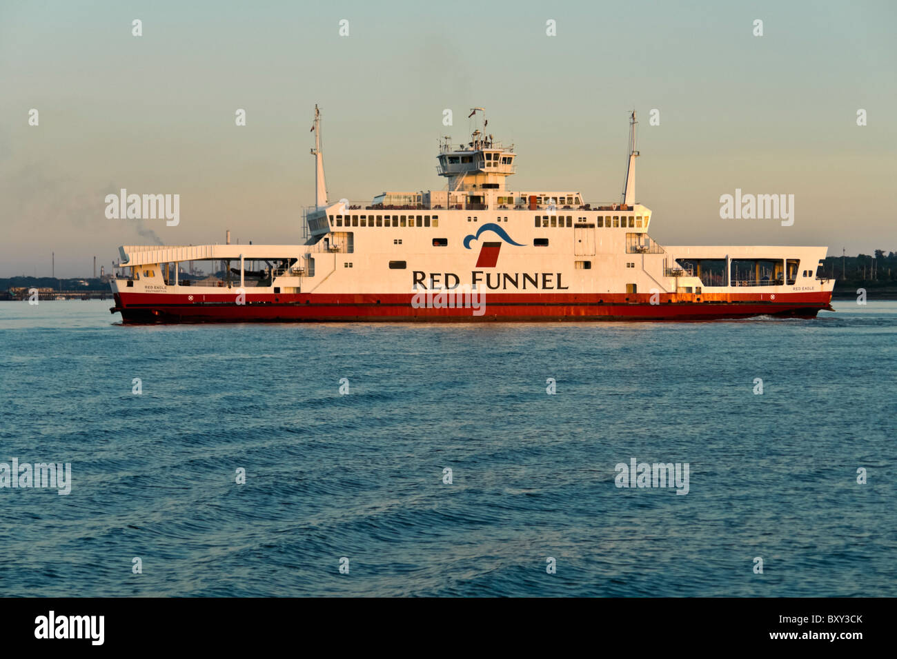 Red Funnel ferry Red Eagle passes through The Solent on Southampton Cowes route. - Stock Image