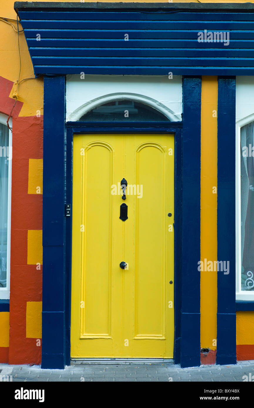 Traditional brightly coloured doorway in Kinsale, County Cork, Ireland - Stock Image