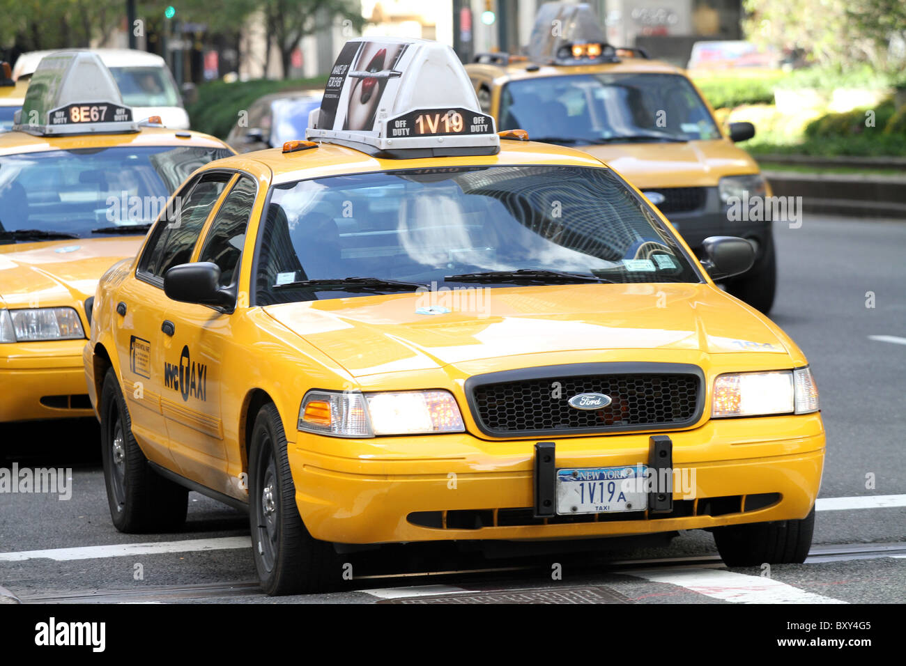 Yellow New York NYC taxi cab in New York, America - Stock Image