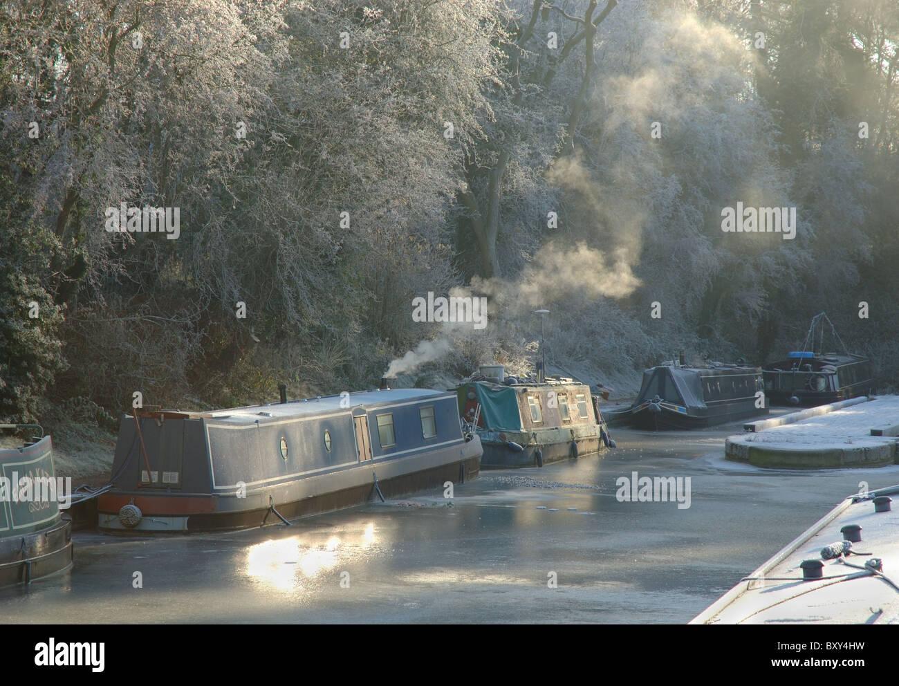 winter, Foxton Locks, Leicestershire, England, UK - Stock Image