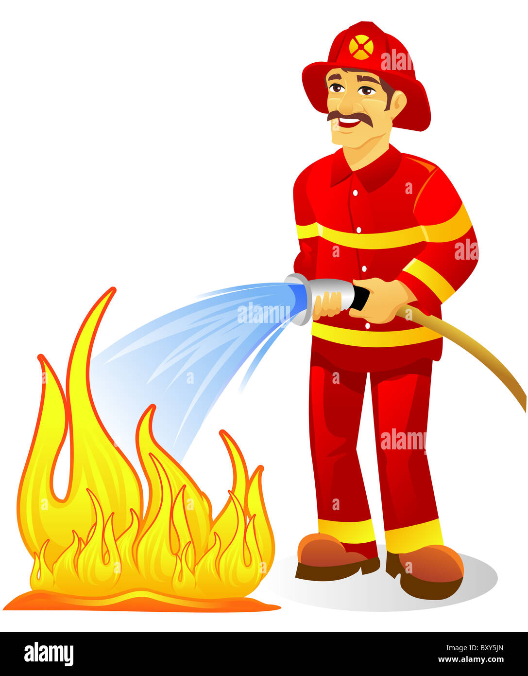 fireman with hose putting out fire stock photo 33788573 alamy