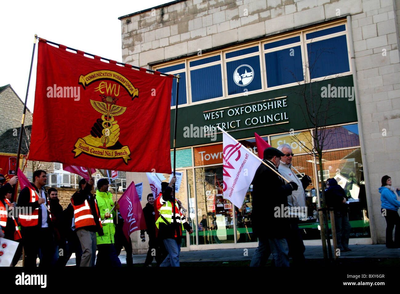 CWU banner with backdrop of Oxfordshire local office - Stock Image