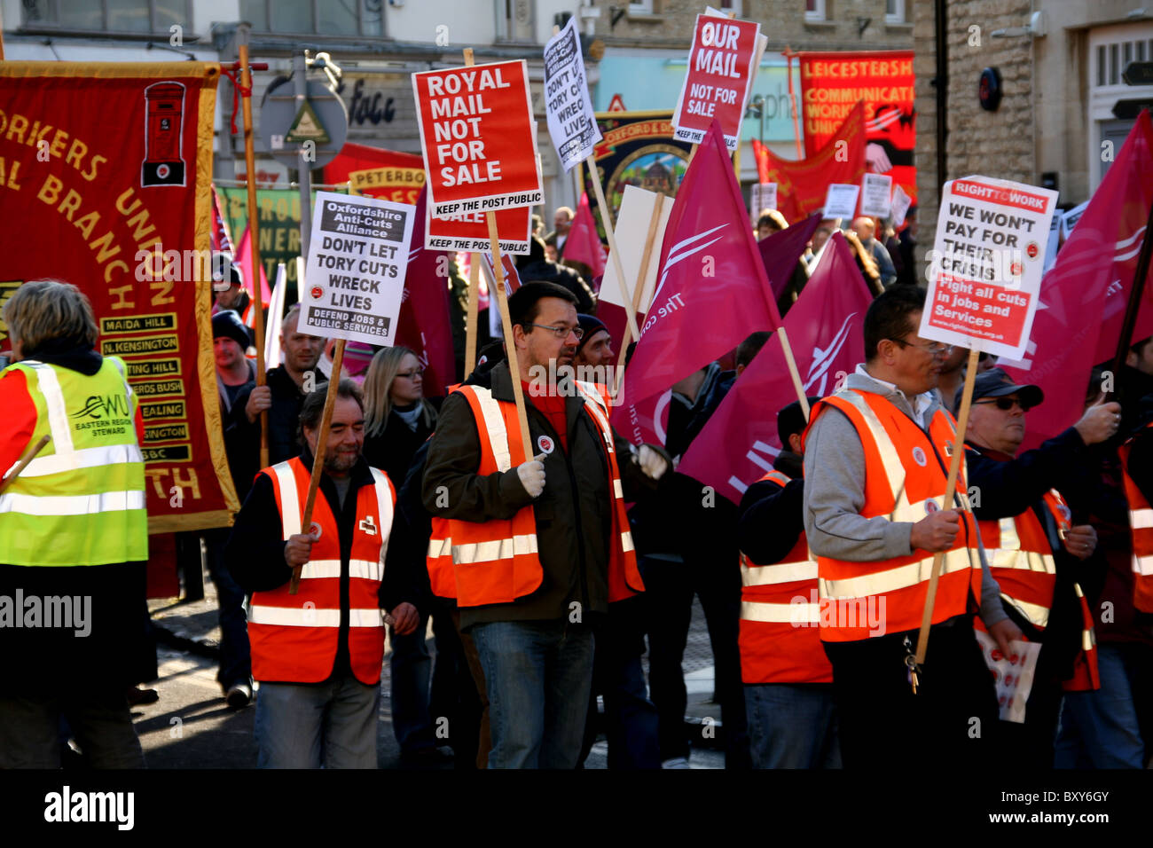 Royal mail protester - Stock Image