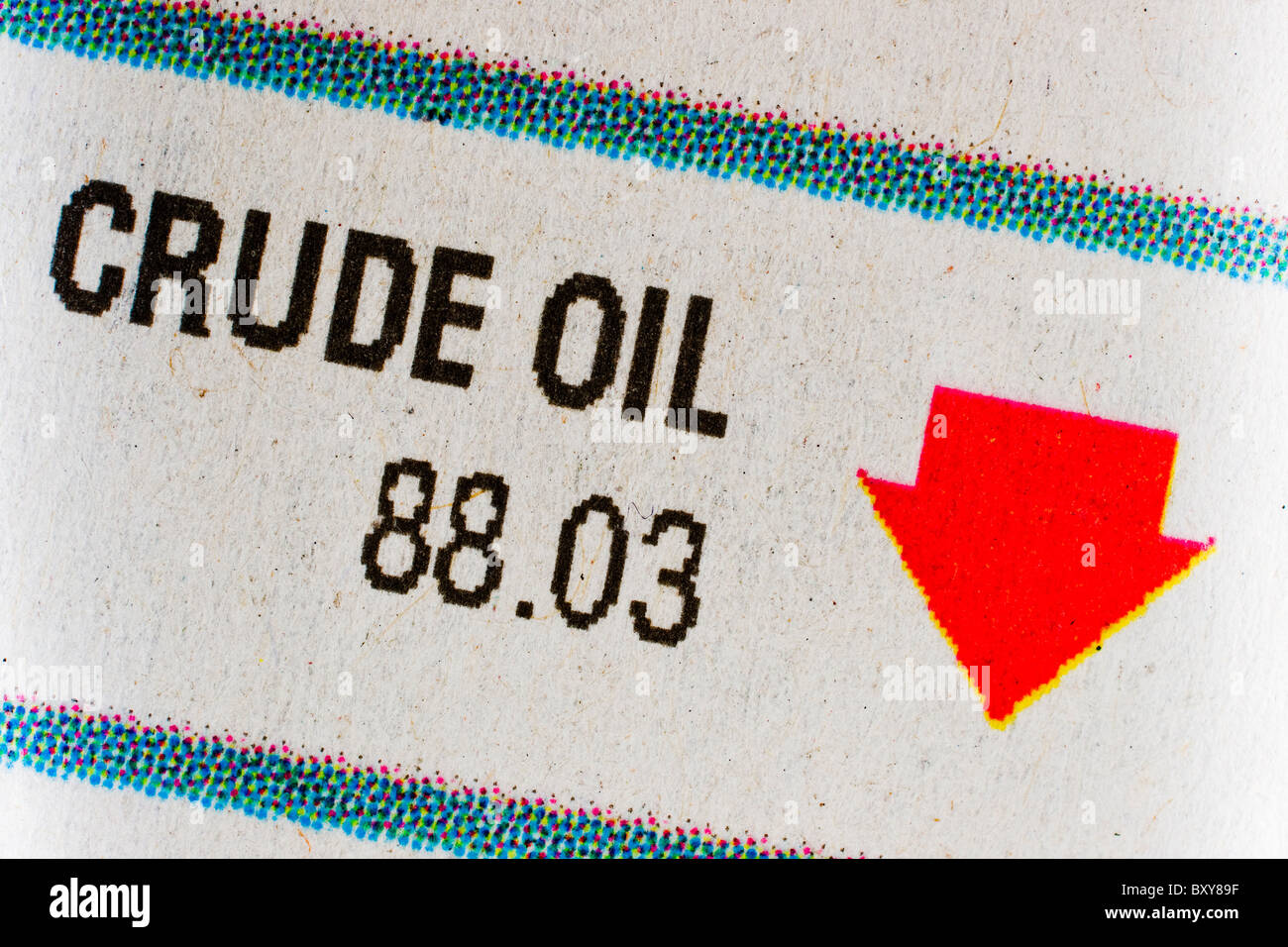 January 2011 news paper shows crude oil stock down. - Stock Image