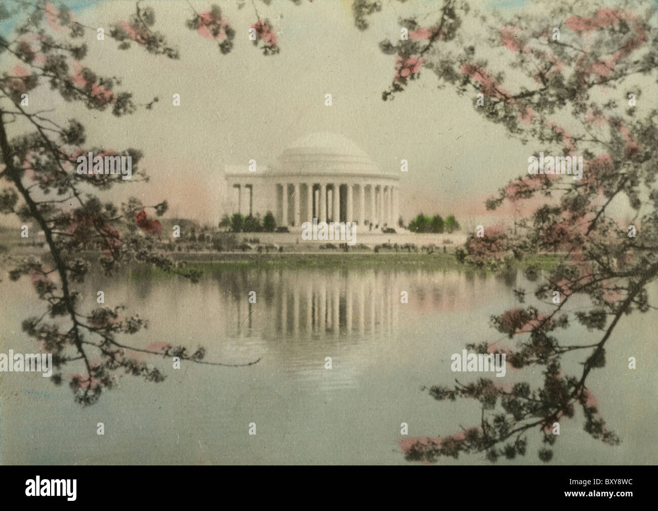 Circa 1910s hand-tinted photograph of the Jefferson Memorial and cherry blossoms, Washington DC, USA. - Stock Image