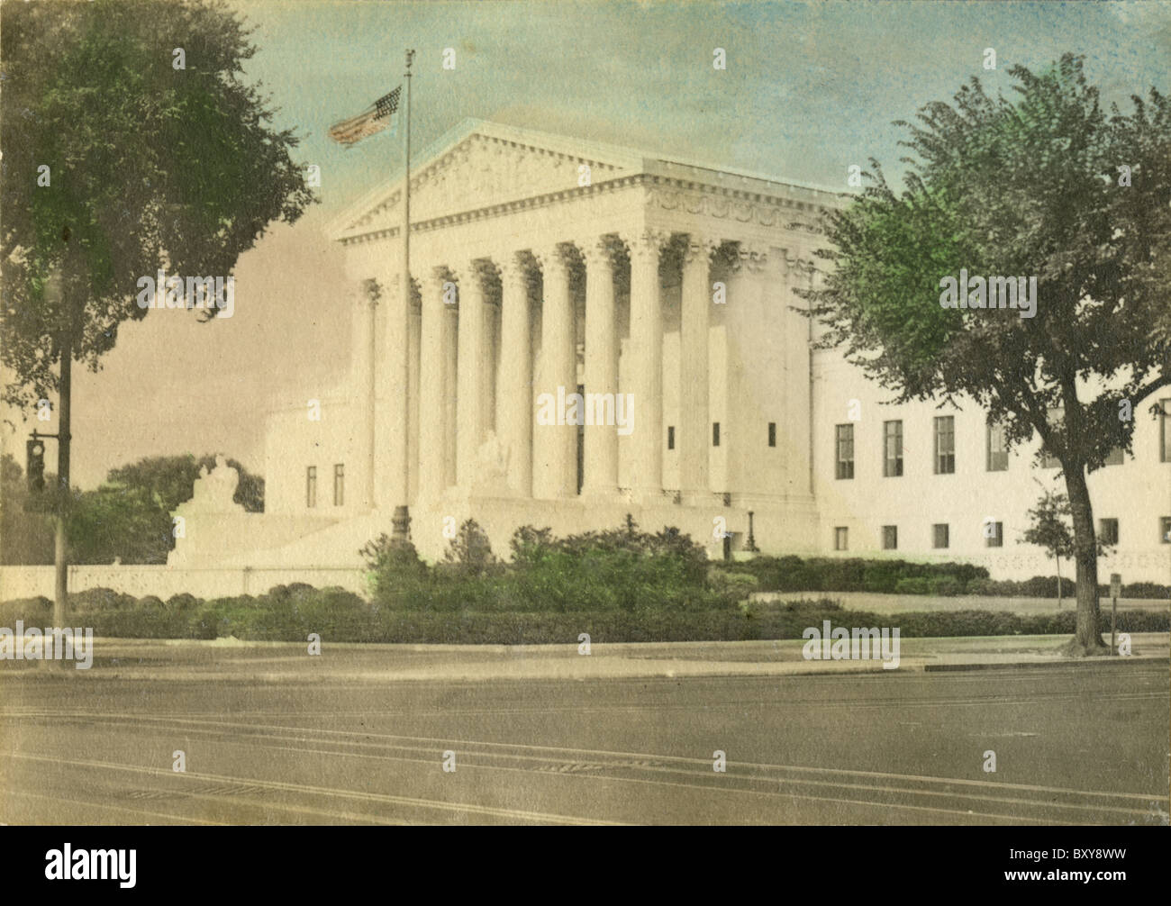 Circa 1910s hand-tinted photograph of the Supreme Court, Washington DC, USA. - Stock Image