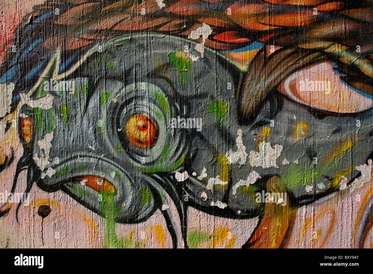 Abstract Wall Mural Depicting A Fish Along A Street In The Spanish