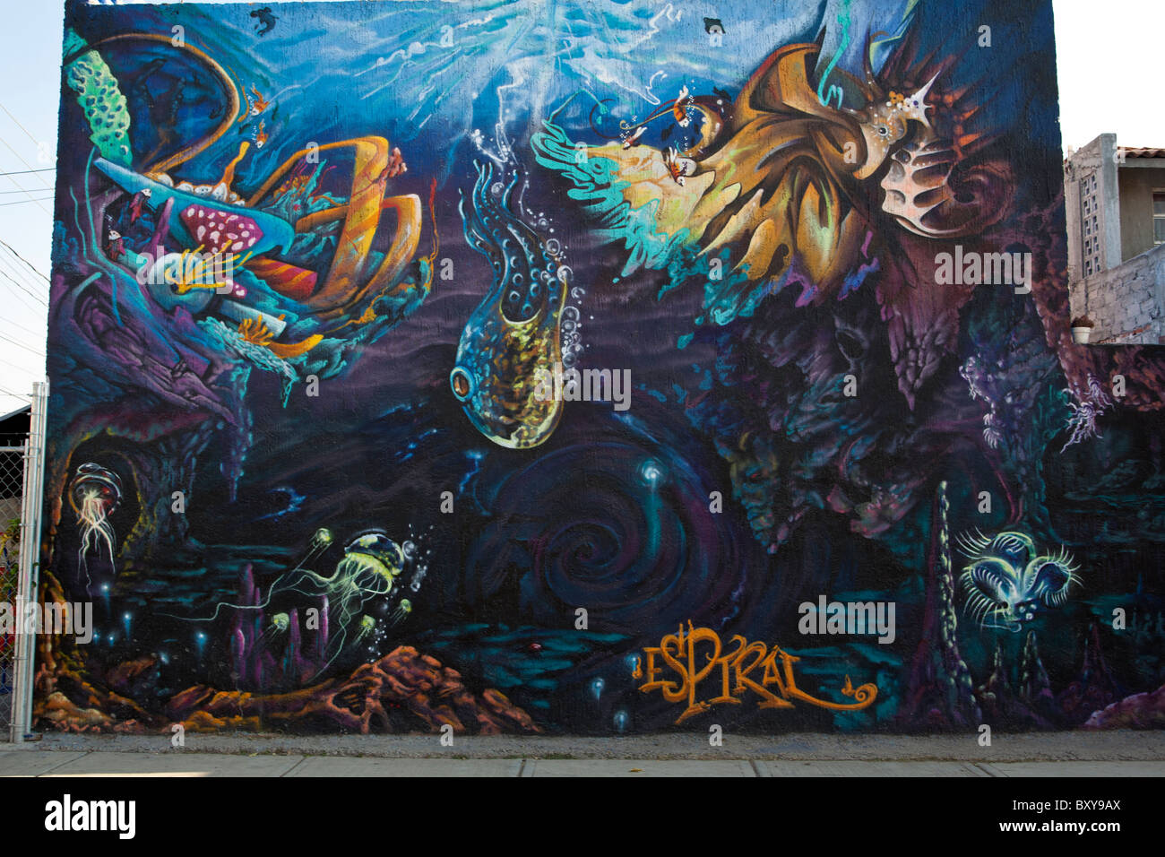 Underwater Abstract Wall Mural Along A Street In The Spanish