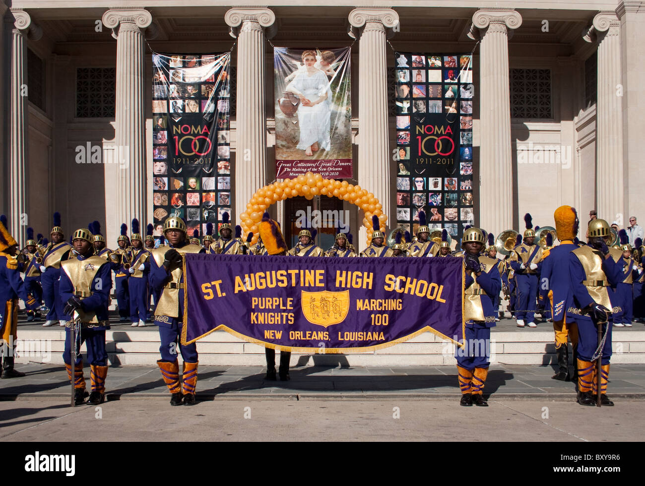 St. Augustine high school marching band commemorating the 100 year anniversary of the New Orleans Museum of Art. - Stock Image