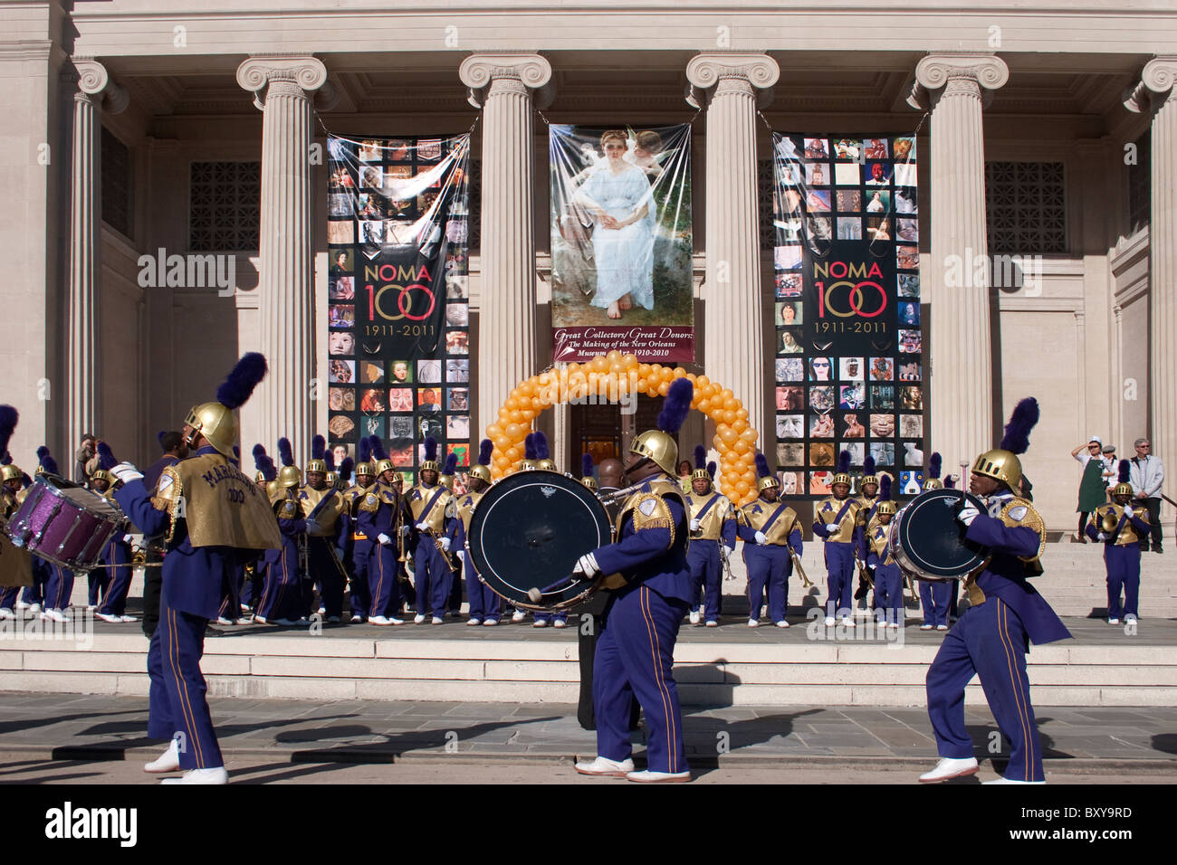 St. Augustine high school marching band commemorating the 100 year anniversary of the New Orleans of Art. - Stock Image