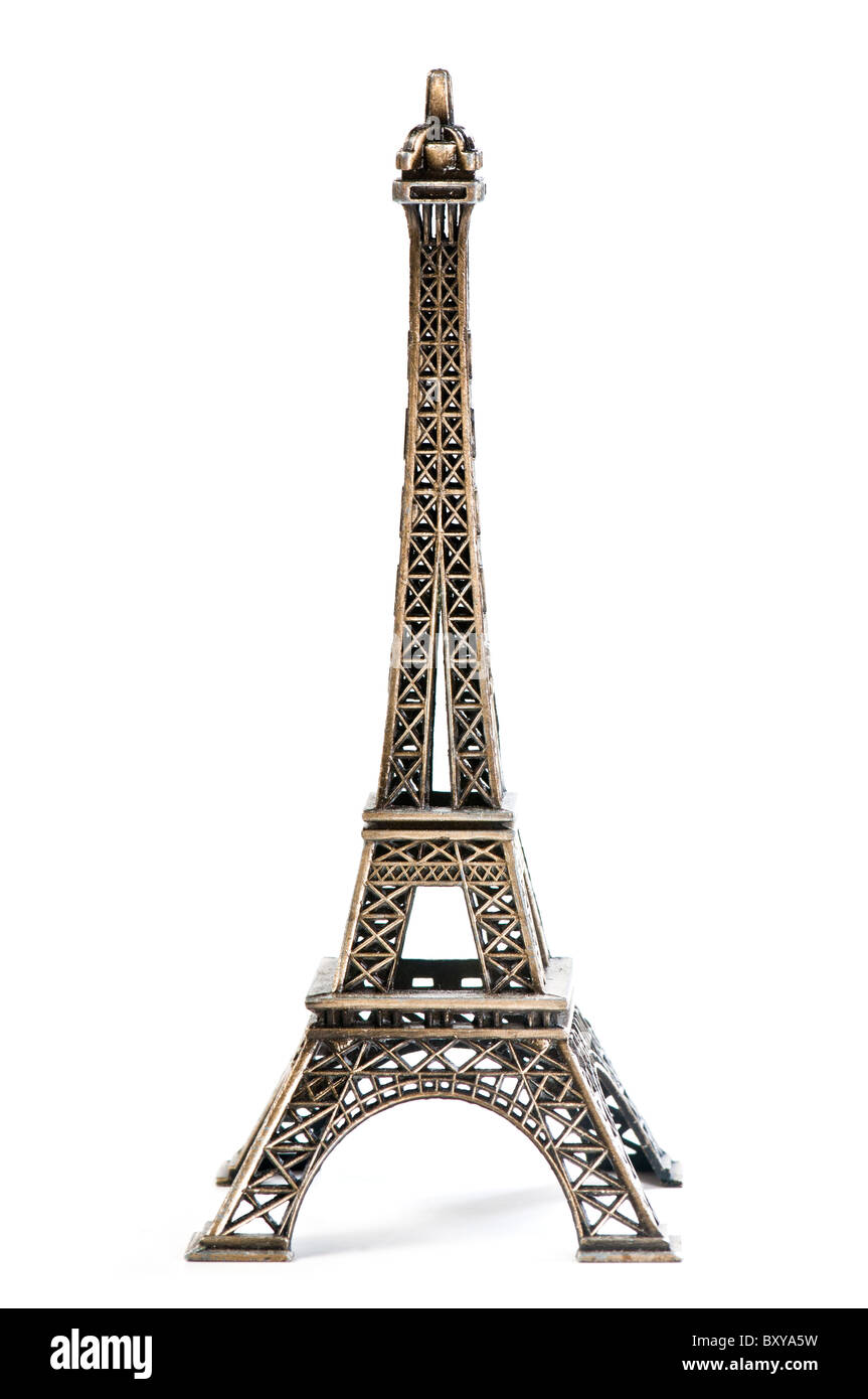 Eiffel Tower Statue, isolated on a white background - Stock Image