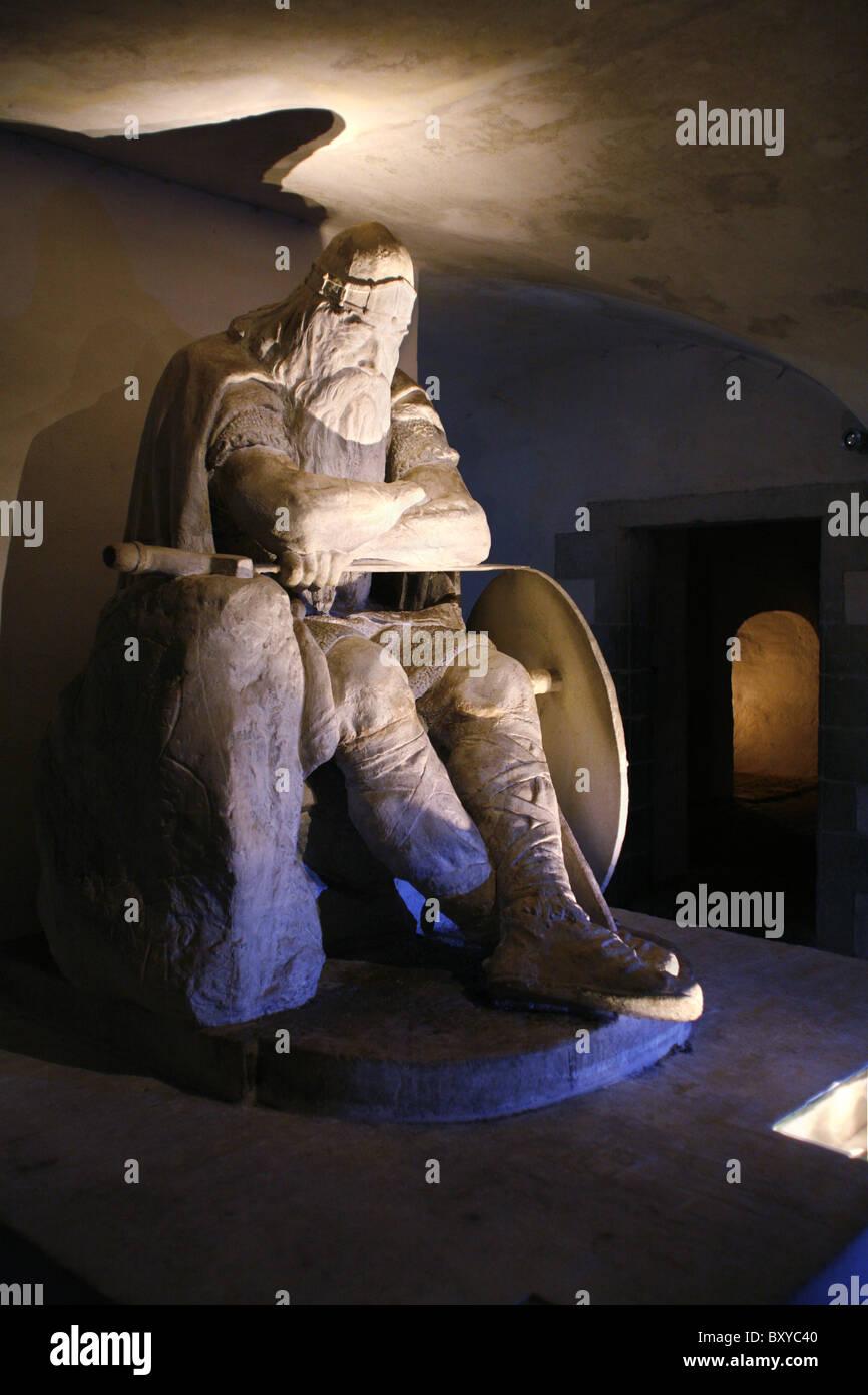 Holger Danske aka Ogier the Dane, Casemates, Kronborg Castle, Helsingør, Zealand, Denmark - Stock Image