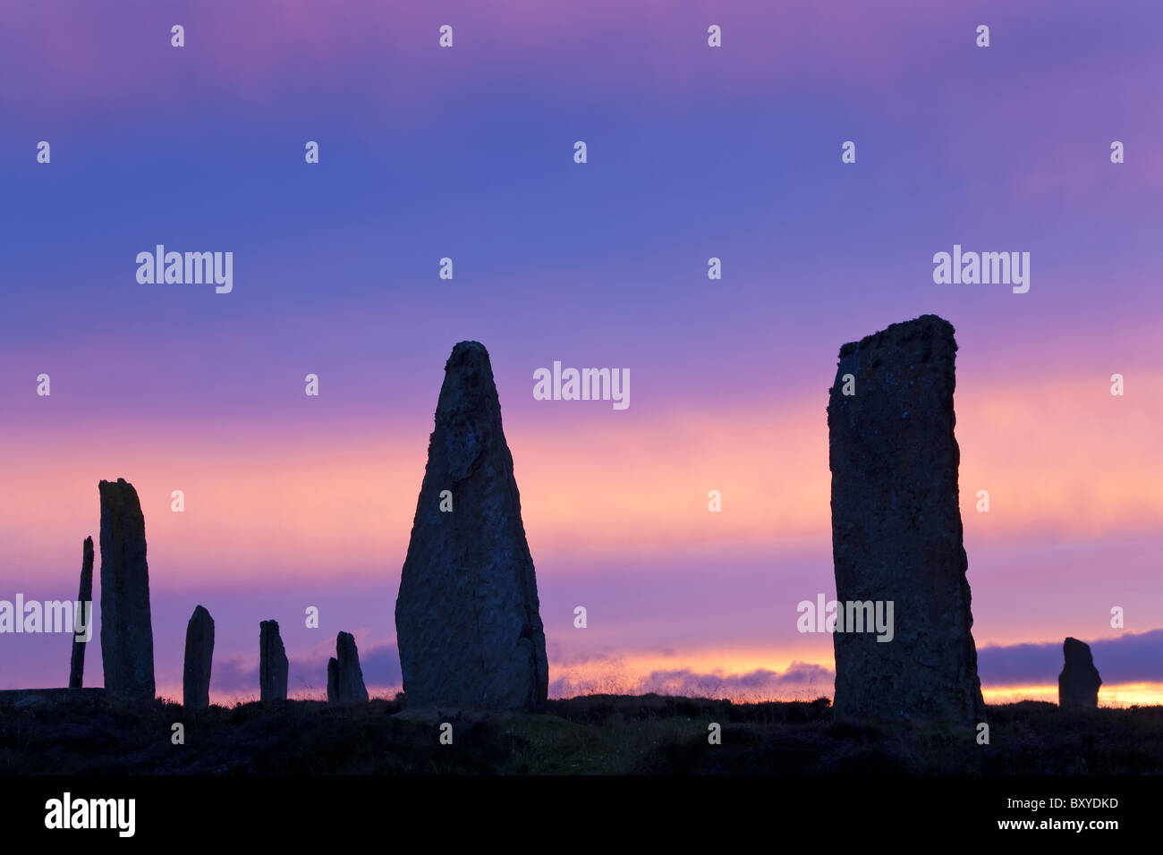 The Ring of Brodgar standing stones Orkney Islands Scotland - Stock Image