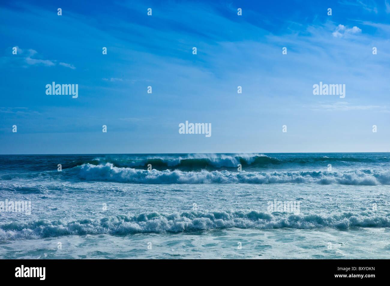 White horses waves off the coast of Doolin, County Clare, West Coast of Ireland - Stock Image
