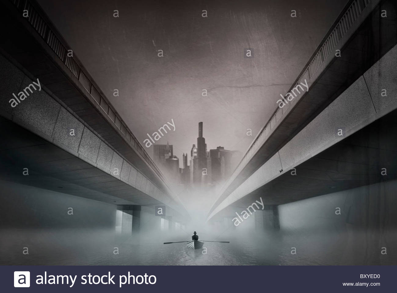 Conceptual image of male figure rowing a boat in an urban environment - Stock Image