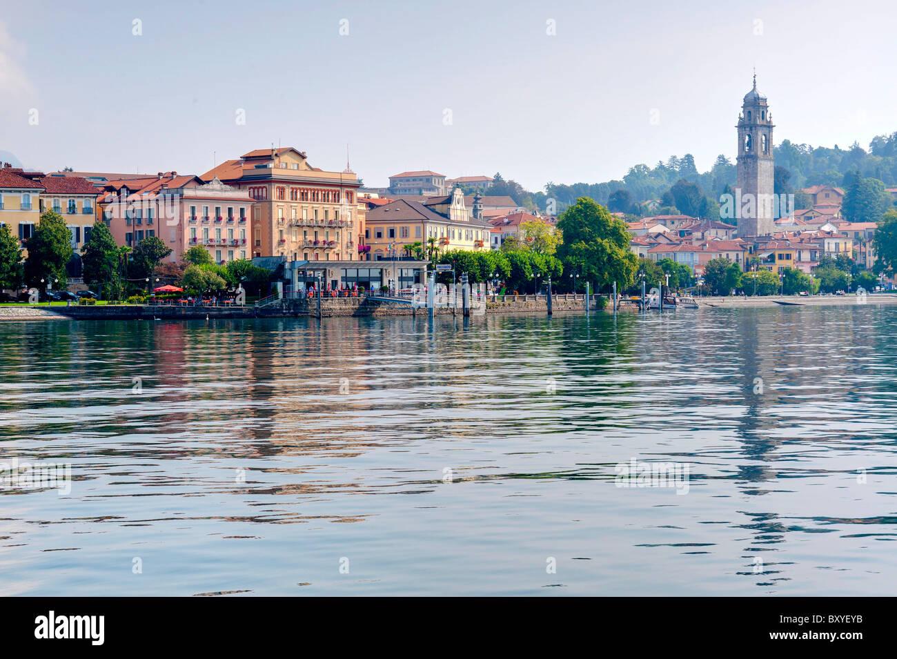 The town Pallanza Lake Maggiore Italy - Stock Image