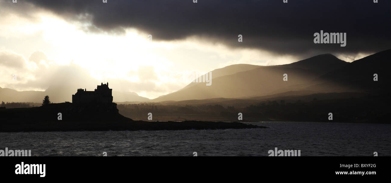 Duart Castle, Silhouette, Sunset, Isle, of, Mull, Scotland, Highlands, United Kingdom Stock Photo