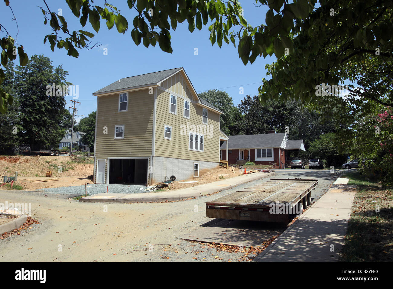 Habitat for Humanity, a nonprofit organization, helps build homes in Charlottesville, VA. - Stock Image