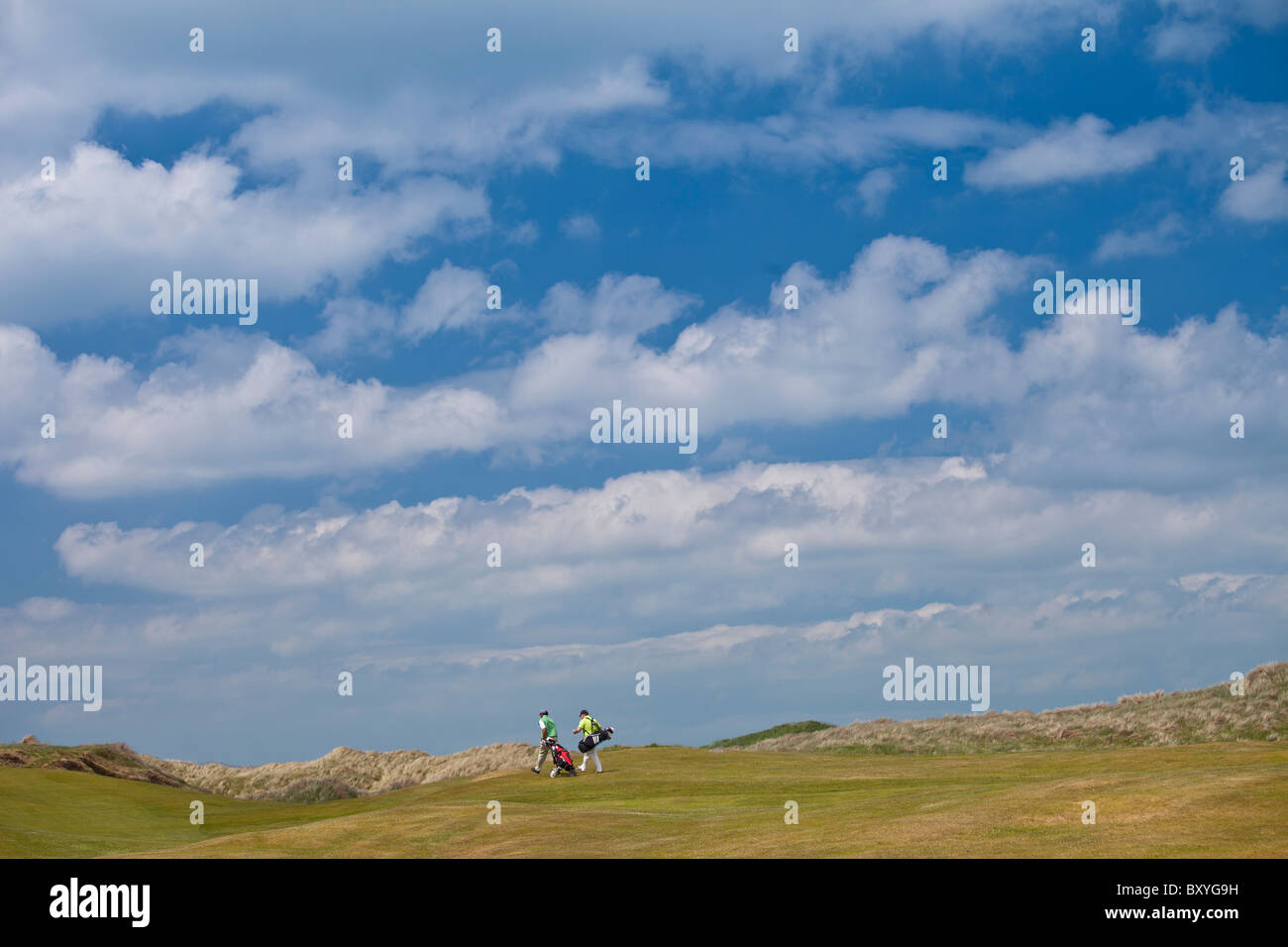 Golfers at Doonbeg Golf Club, County Clare, West of Ireland - Stock Image