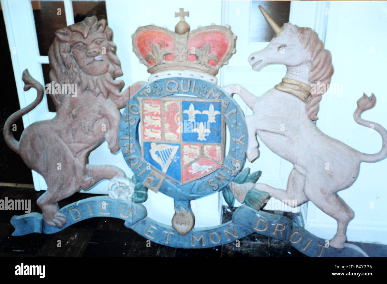 English royal emblem displayed atop curtain at Dock Street theater, Charleston, SC - Stock Image