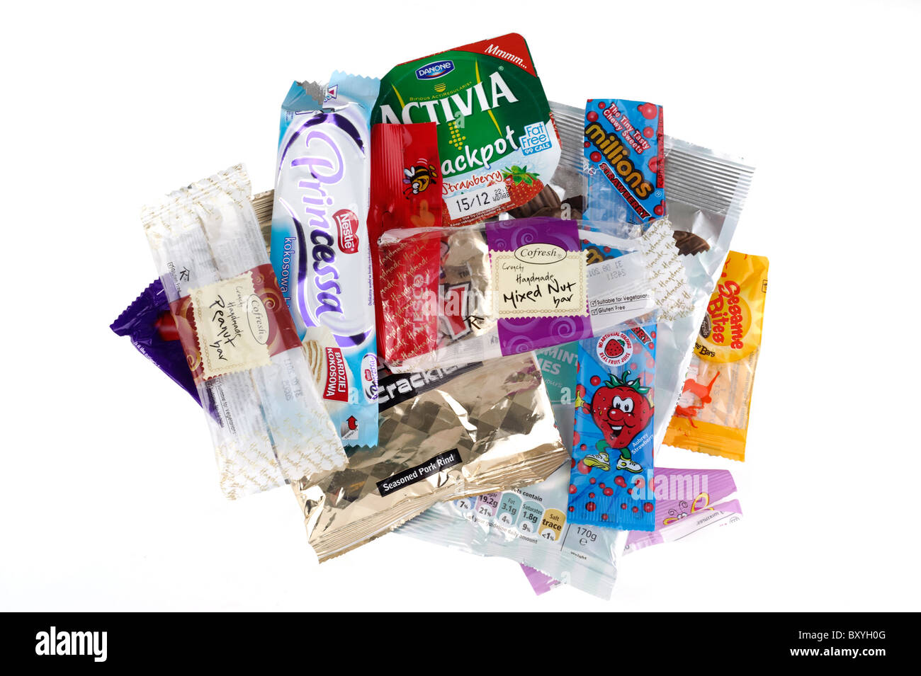 Pile of  product wrappers - Stock Image