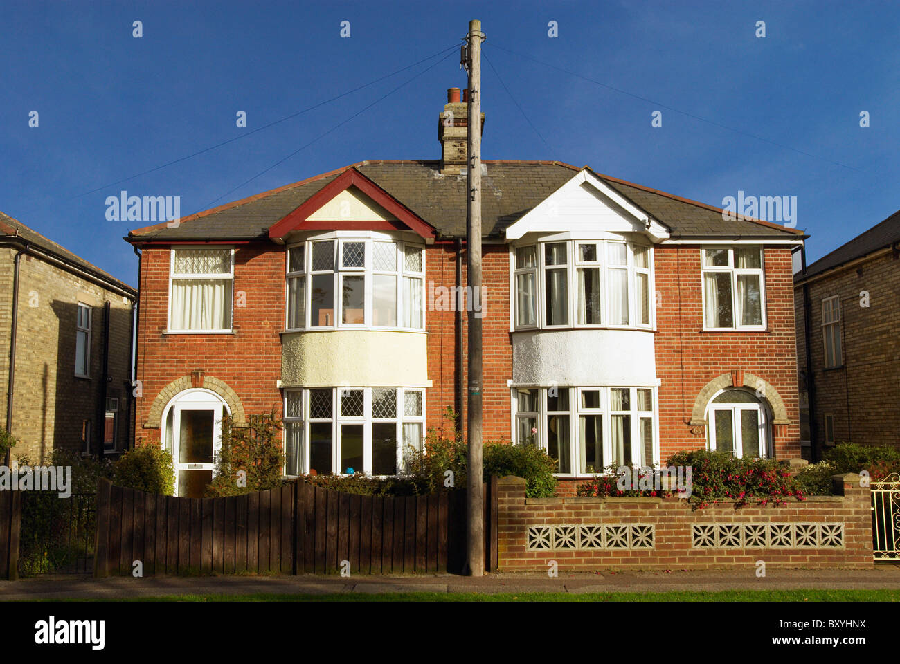 Semi detached houses england uk stock image