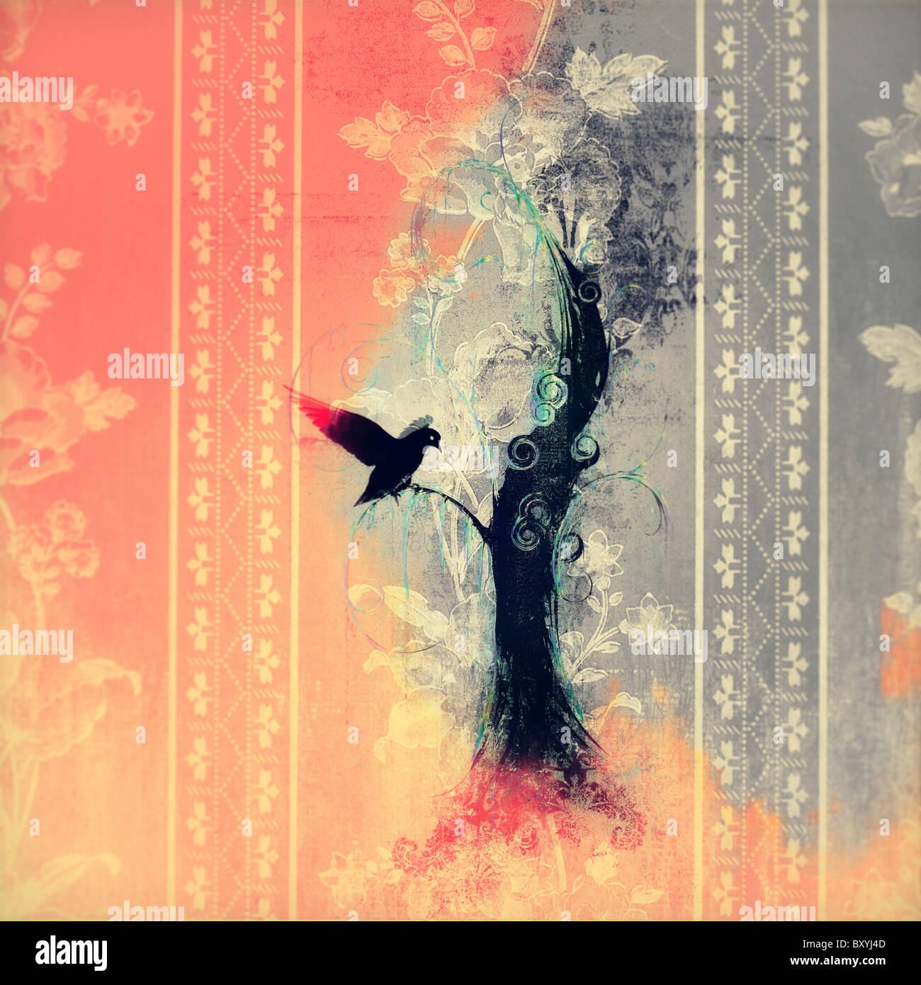 Image of black bird landing on tree, with fire around. - Stock Image