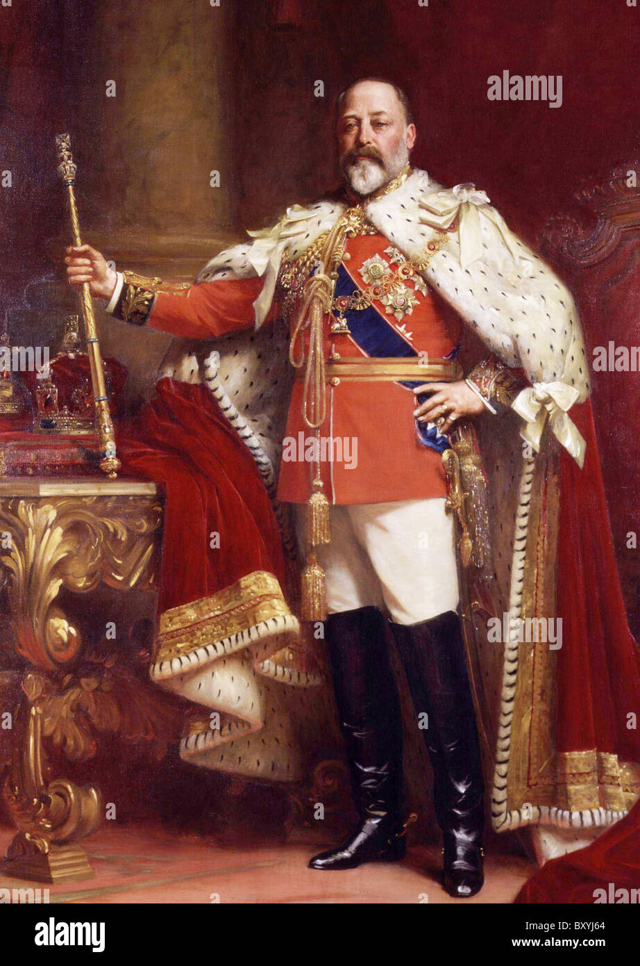 KING EDWARD VII (1841-1910) in his 1902 Coronation robes painted by  Samuel Fildes holding the Royal Sceptre - Stock Image