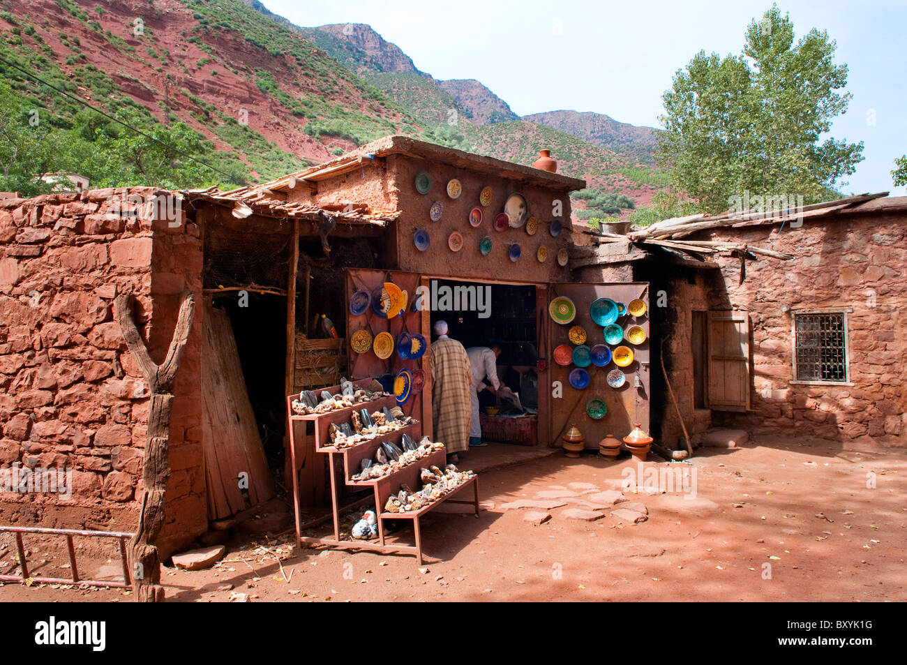 Shops in a Berber village in the Ourika Valley in the Atlas Mountains of Morocco. - Stock Image