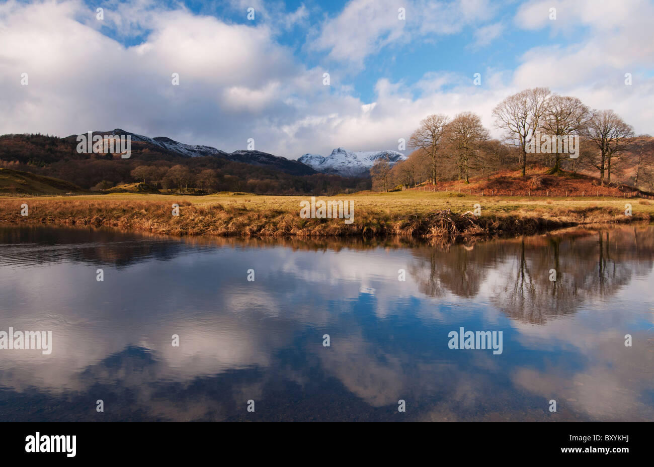 Winter reflections over the River Brathay at Elterwater in the Lake District Stock Photo