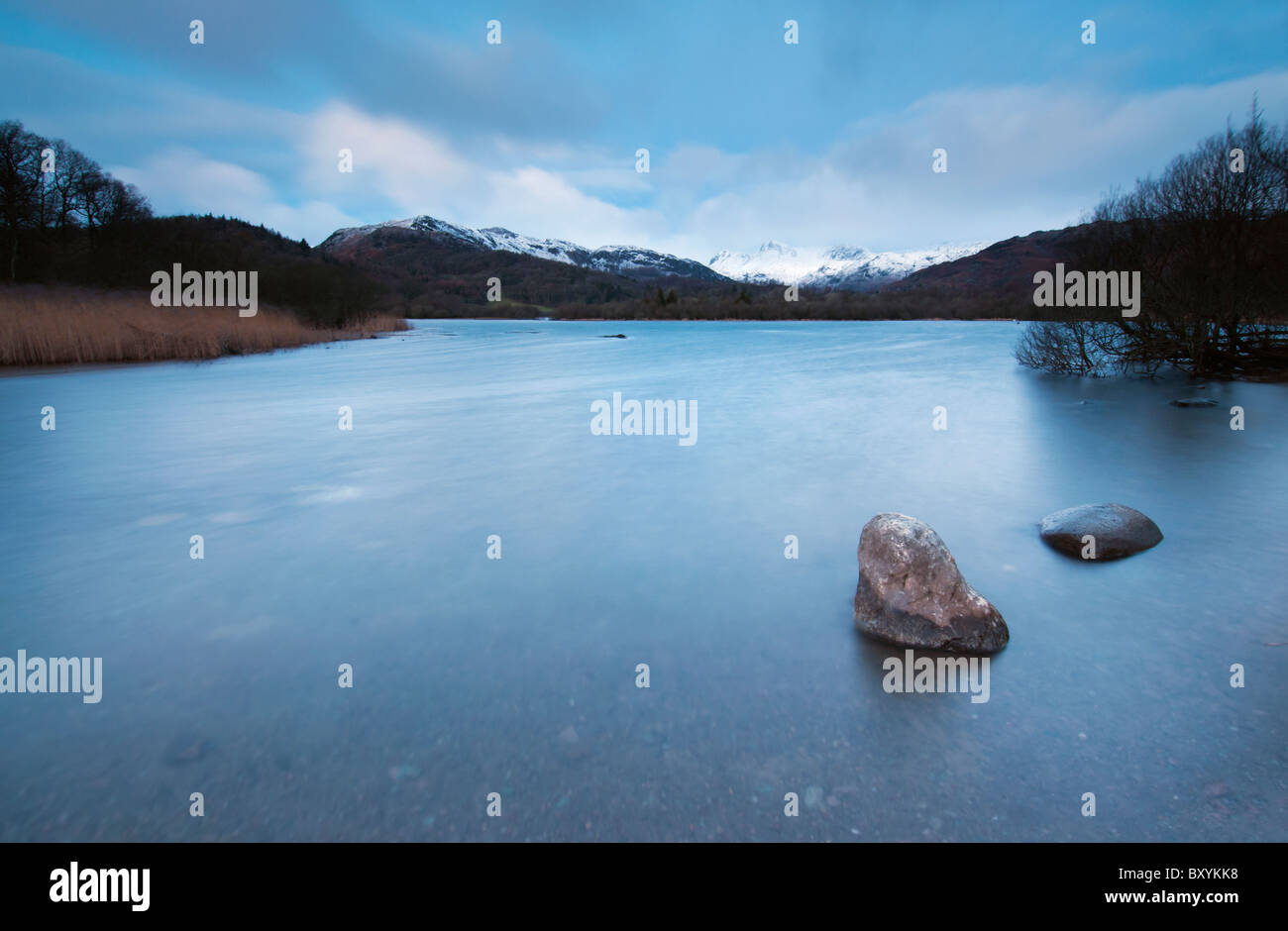 Long exposure of Winter Dawn at Elterwater in the Great Langdale Valley, Lake district Stock Photo