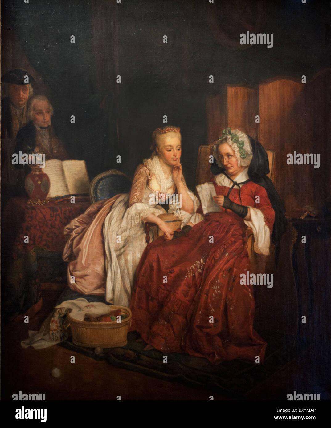 Jean-Alphonse Roehn La demande en mariage - The marriage proposal  1839 XIX th Century Paris : Musée Cognacq - Stock Image
