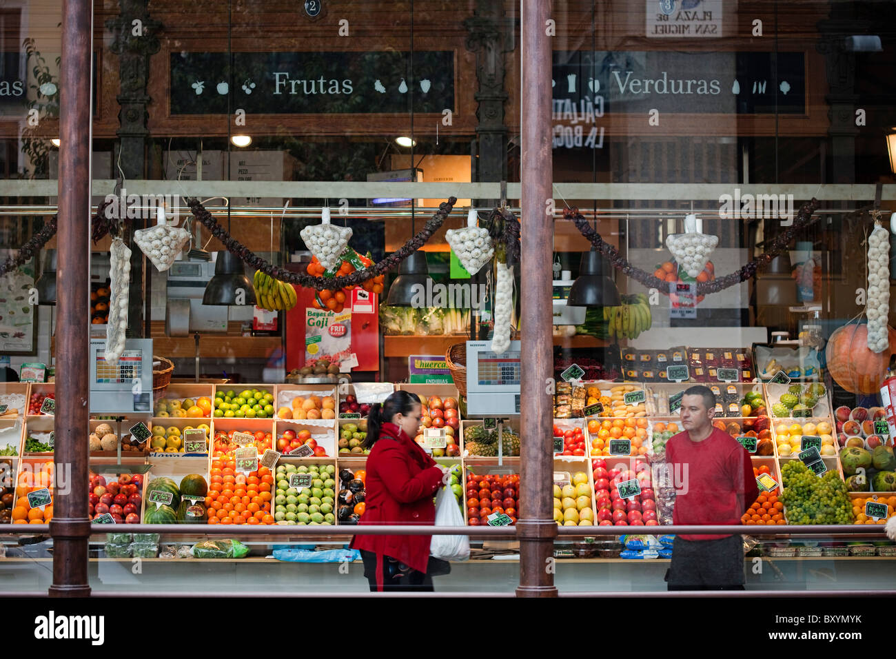 Mercado de San Miguel Madrid Spain market españa - Stock Image