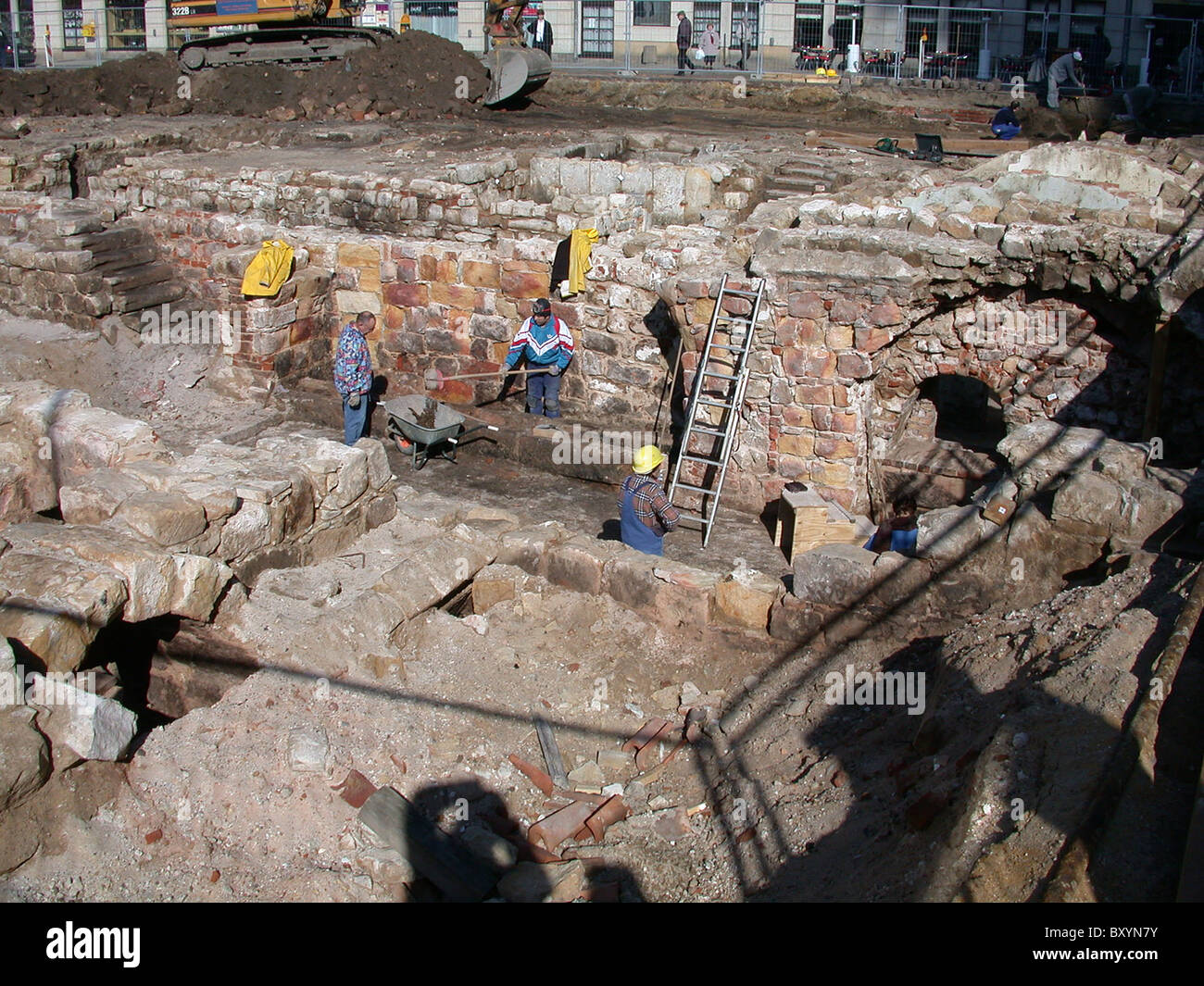 Excavating a former bomb site in Dresden Germany 2002 - Stock Image