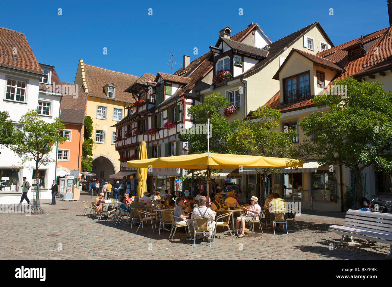 Street cafe in Meersburg, Lake Constance, Baden-Wuerttemberg, Germany - Stock Image