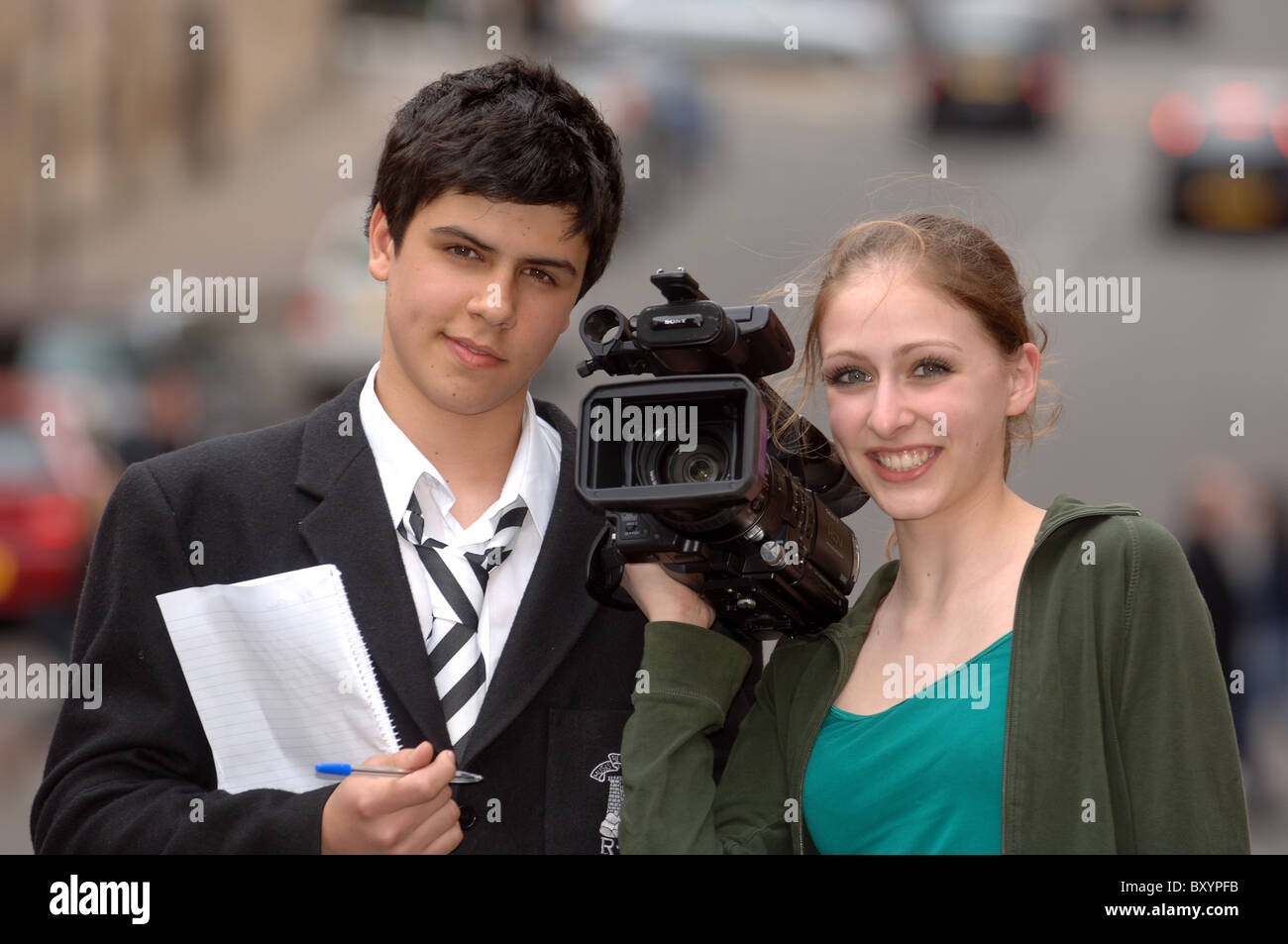 Young film makers on location - Stock Image