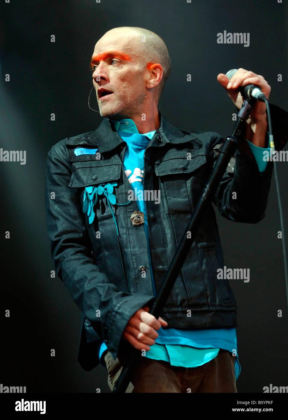 Lead singer REM Michael Stipe - Stock Image