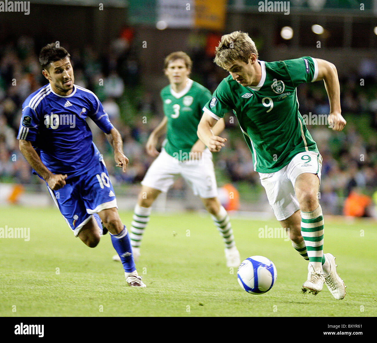 Manel Jimenez, of Andorra in action against Kevin Doyle, Republic of Ireland. Rep of Ireland Vs Andorra - Stock Image