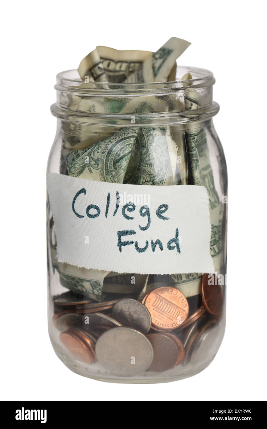 College fund jar on white background - Stock Image