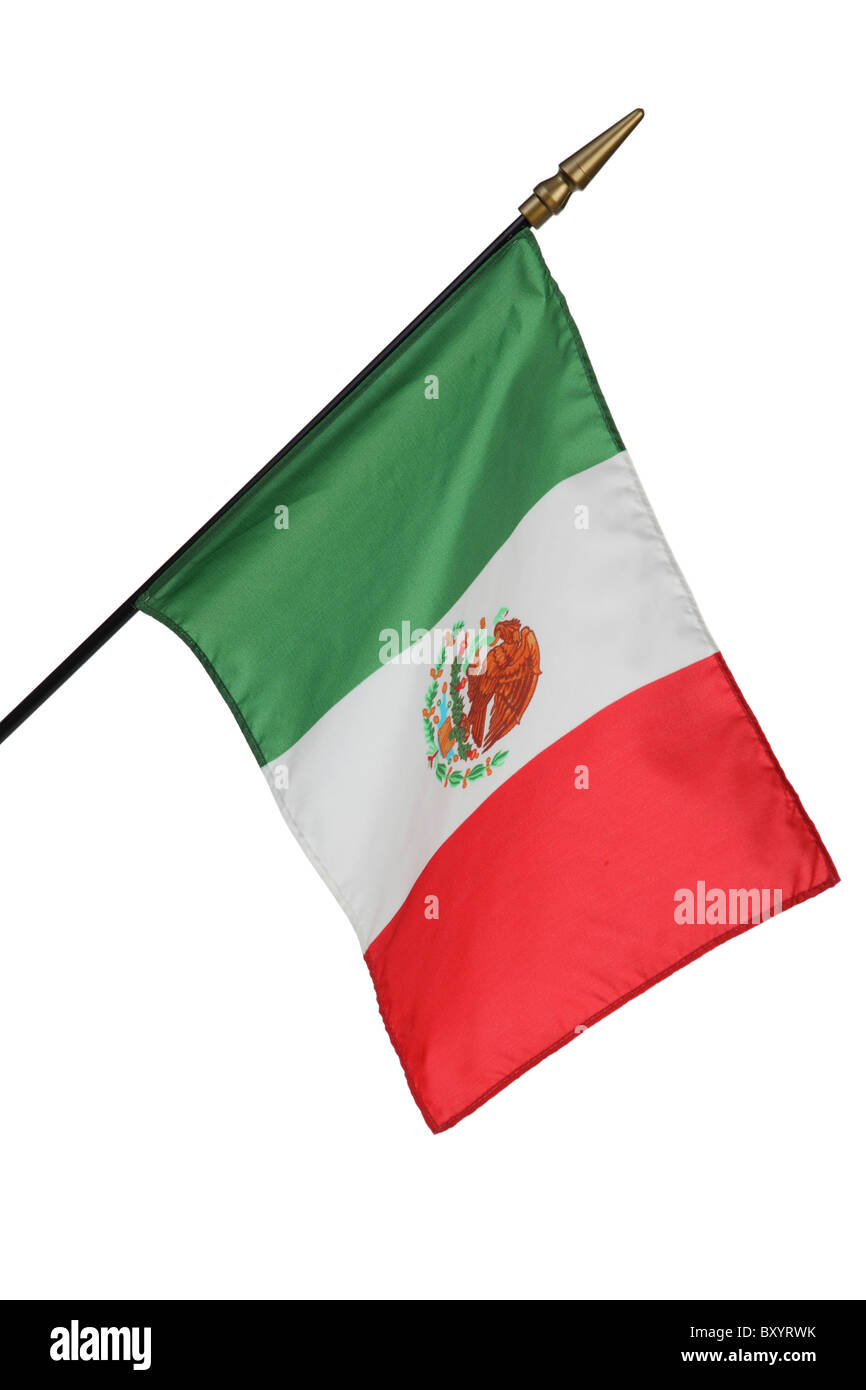 Mexican flag on white background - Stock Image