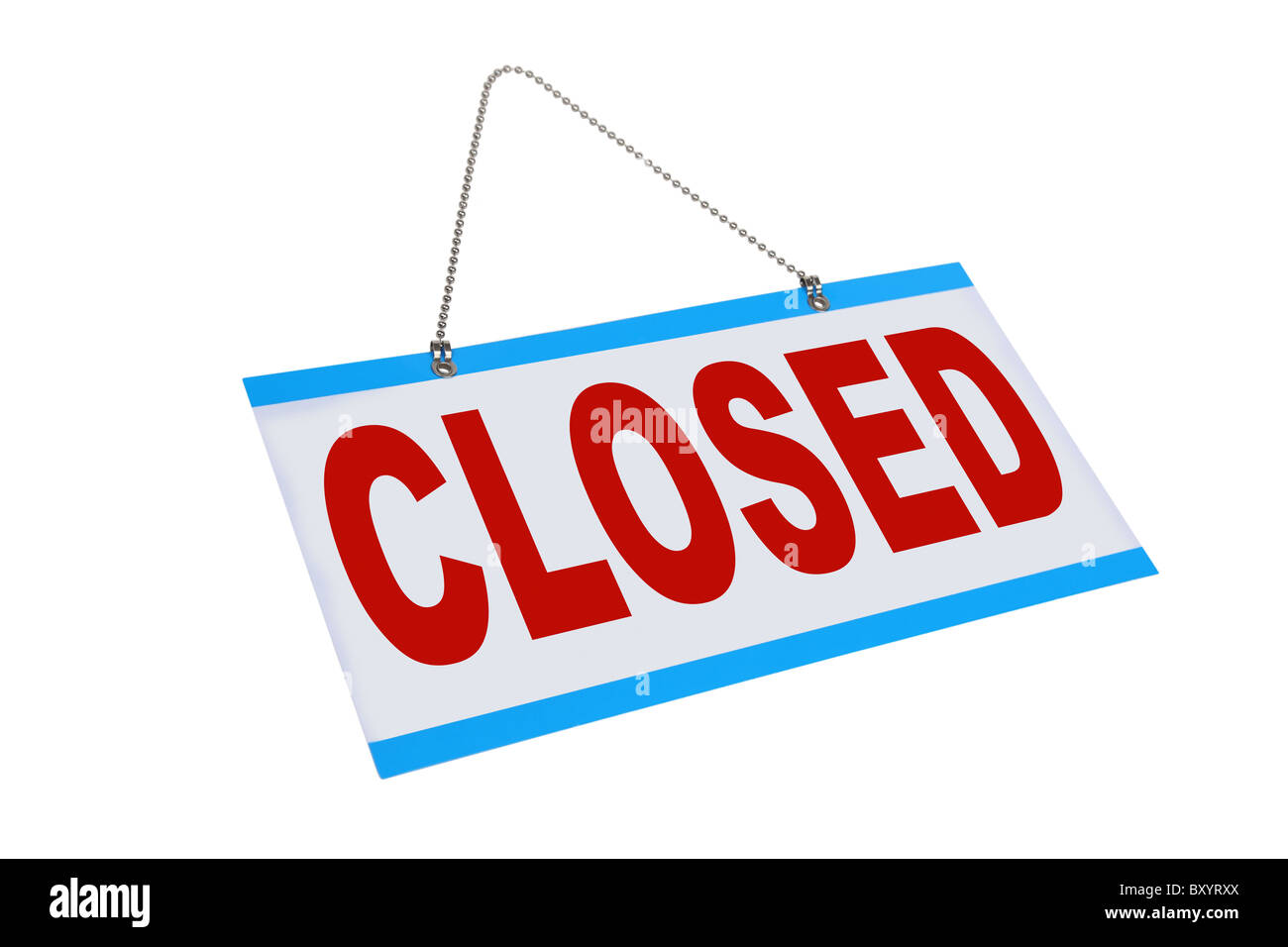 Closed sign on white background - Stock Image