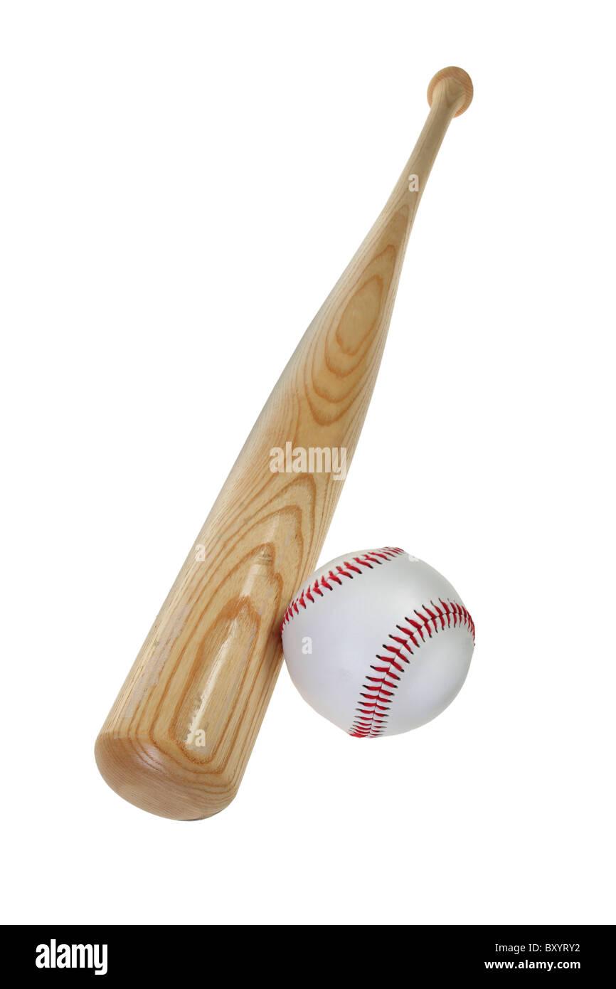 Baseball bat and baseball, white background - Stock Image