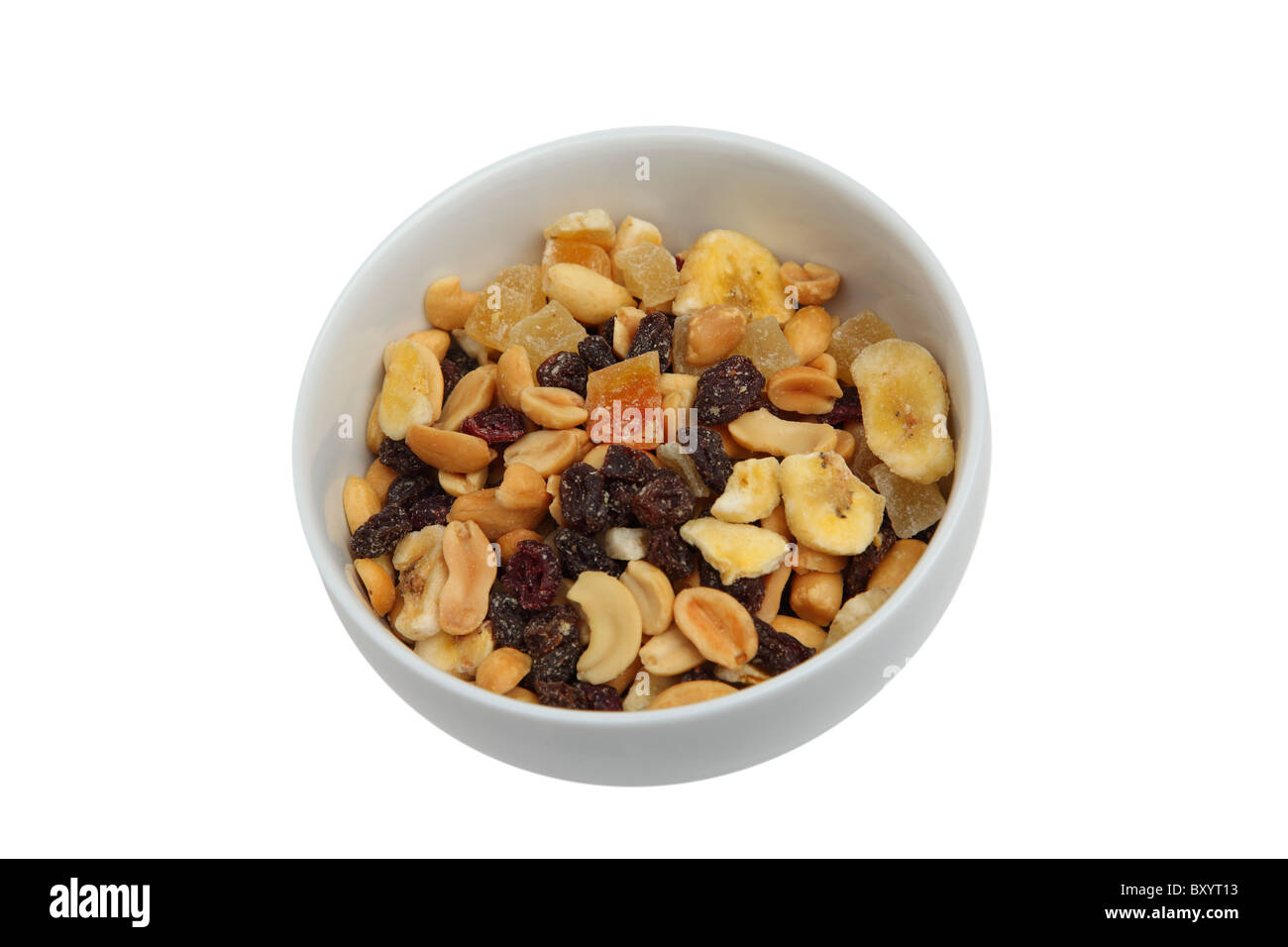 Trail mix in bowl on white background - Stock Image