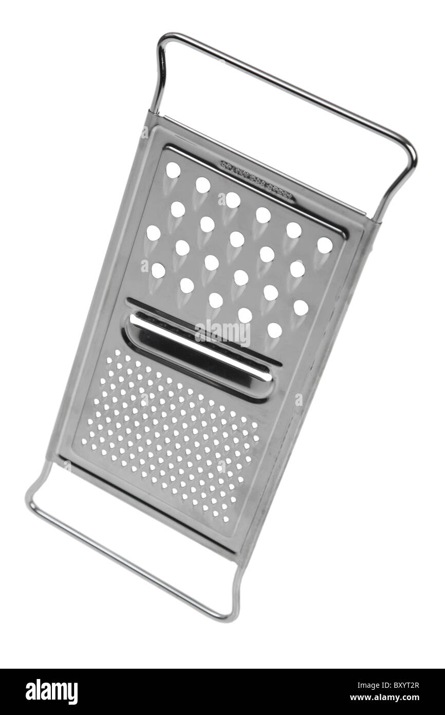 Cheese grater on white background - Stock Image