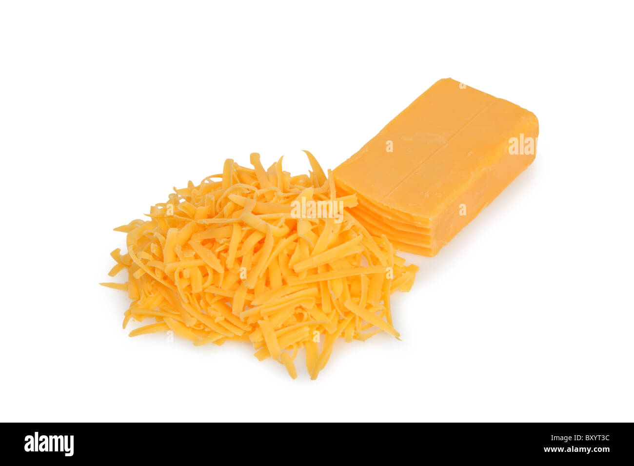 Grated cheddar cheese on white background - Stock Image