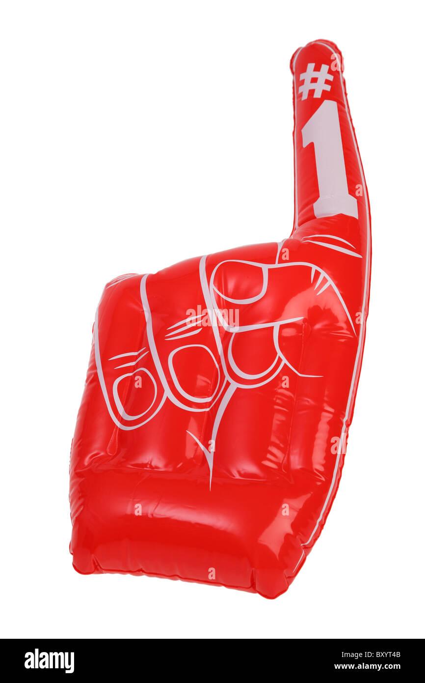 Inflatable #1 finger on white background - Stock Image