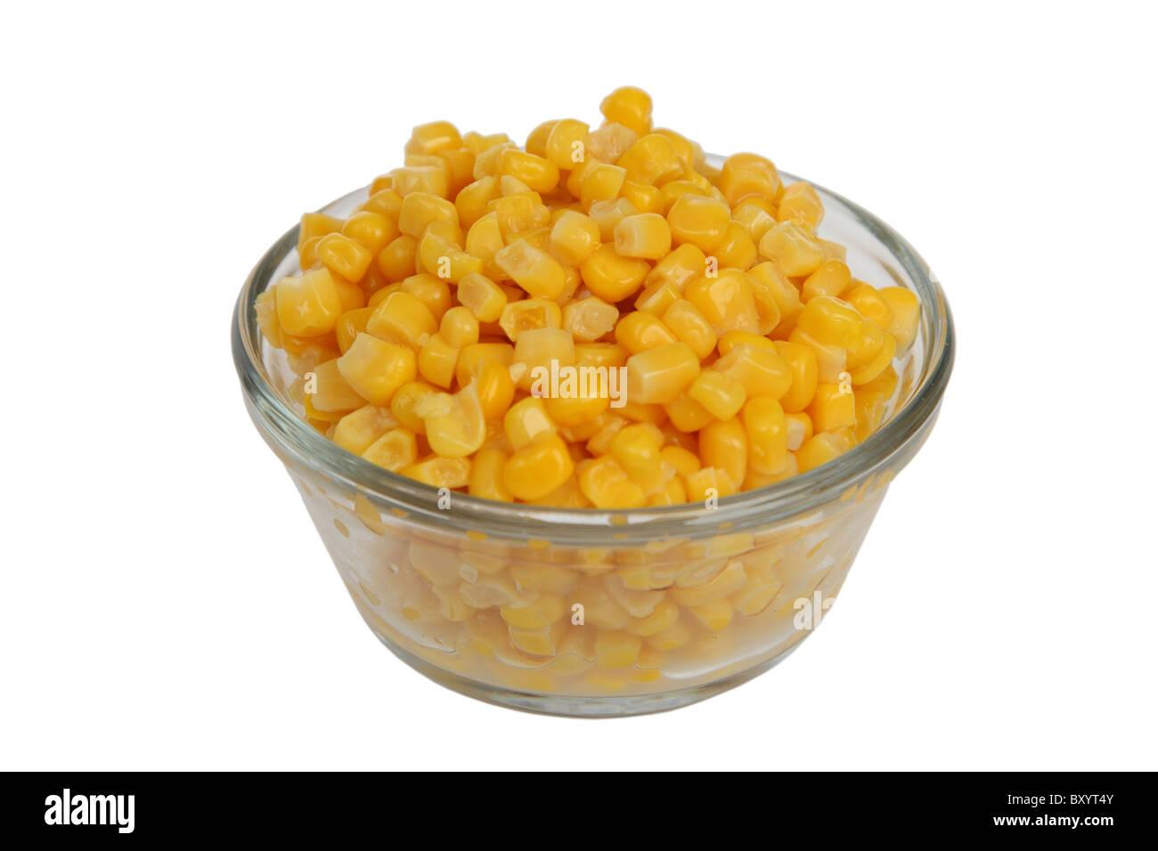 Bowl of corn on white background - Stock Image
